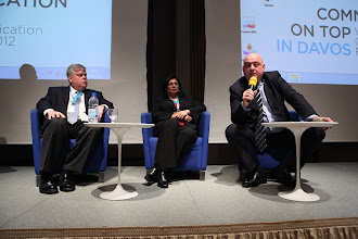 """Photo: Kevin Donnellan, Roma Balwani, Yannis Freris -  final panel discussion: """"Chief Comms Officer's Role"""" Panel - 2012"""