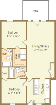 Go to Two Bed, Two Bath Lower Spicewood Floorplan page.