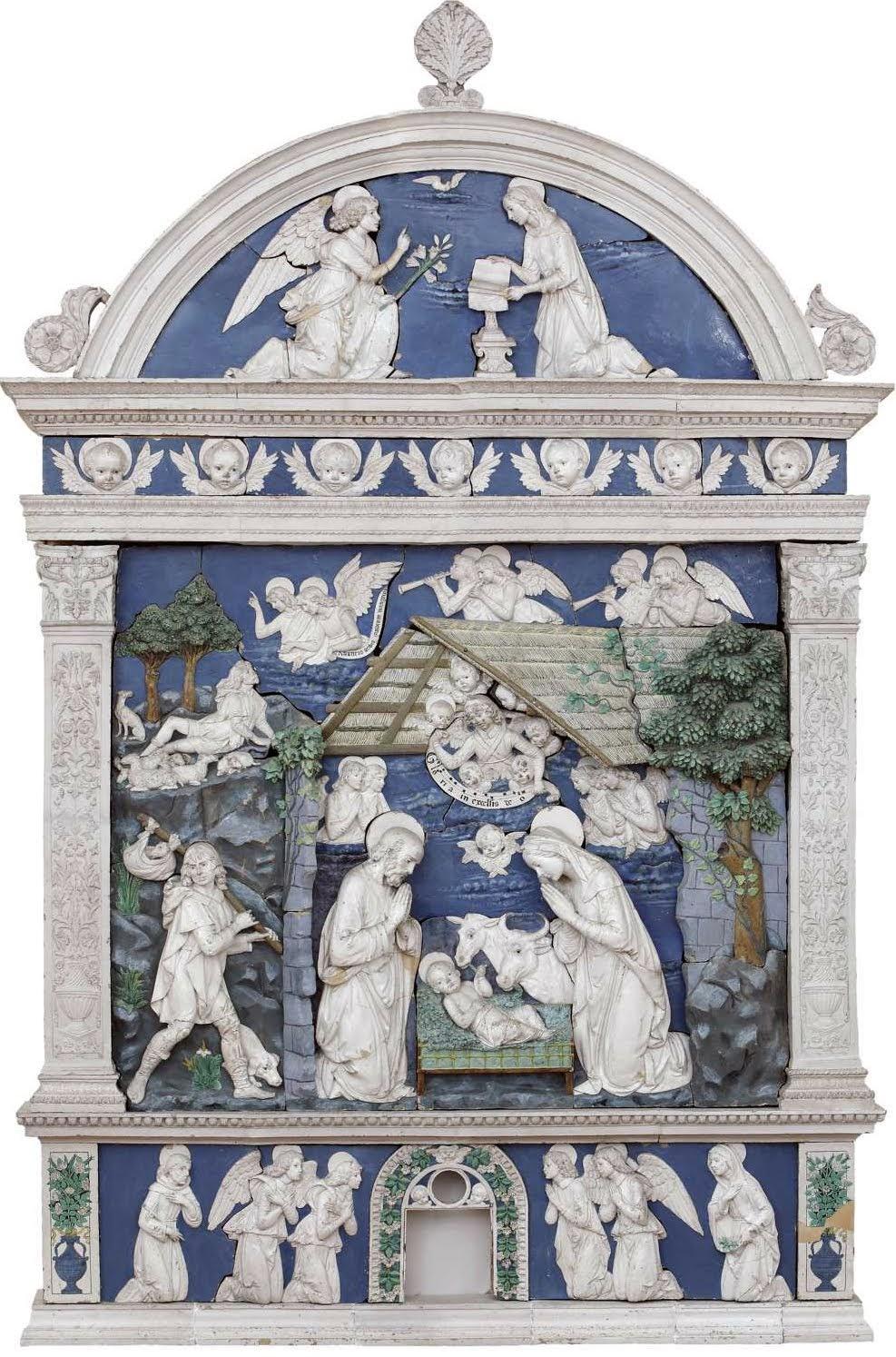 Andrea della Robbia, Natività con l'Annuncio ai pastori e Annunciazione, Museo Civico, Sansepolcro