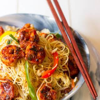 Hakka Noodles With Chilli Garlic Prawns.