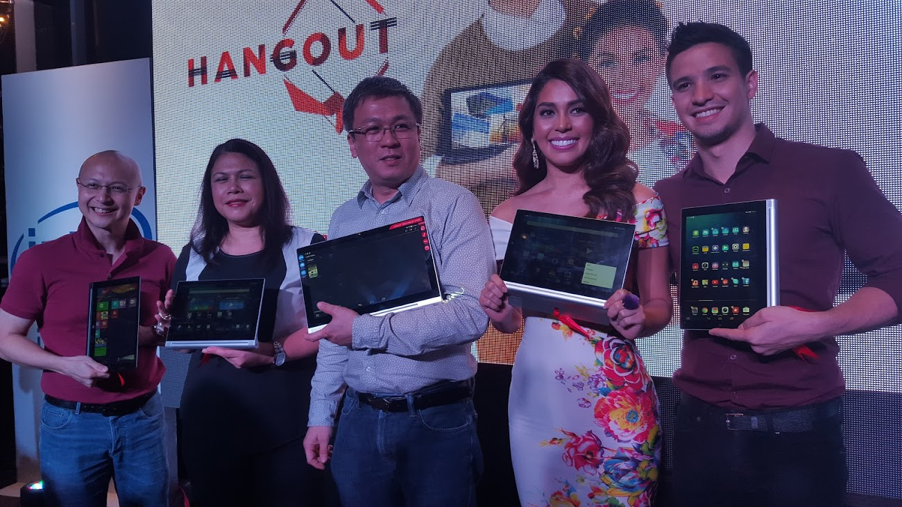 LENOVO HANGOUT EVENT with (L-R) Wowie Wong, Market Development Manager, Intel Philippines; Anna Abola, Marketing Communications Manager, Lenovo Philippines; Michael Ngan, Country General manager, Lenovo Philippines; Miss Universe Philippines 2014, MJ lastimosa; and singer/artist Markki Stroem.
