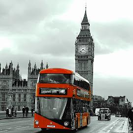 London by Gert de Vos - City,  Street & Park  Street Scenes ( red, bus, great brittain, london, tower bridge )