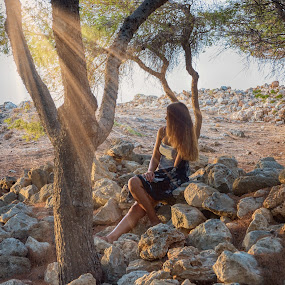 Freedom by Stavros Troullinos - People Portraits of Women ( woman, trees, beam, glimpse, forest, light, sun )