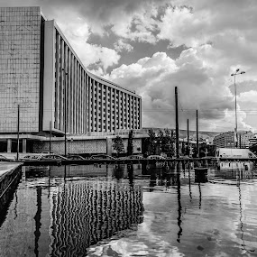 Athens Hilton Hotel by Zisimos Zizos - Buildings & Architecture Office Buildings & Hotels ( hilton, black and white, greece, athens )