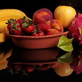 Tropical fruits by Cristobal Garciaferro Rubio - Food & Drink Fruits & Vegetables ( banana, apple, peach, strawberry, pithaya )
