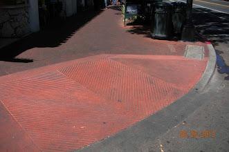 Photo: Black dust red brick sidewalk Santa Barbara