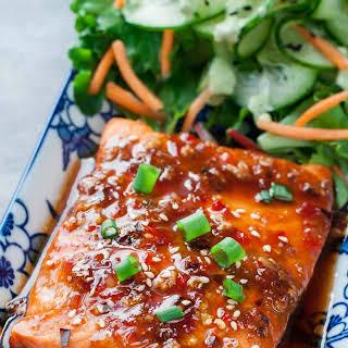 Sweet Chili Sriracha Salmon.