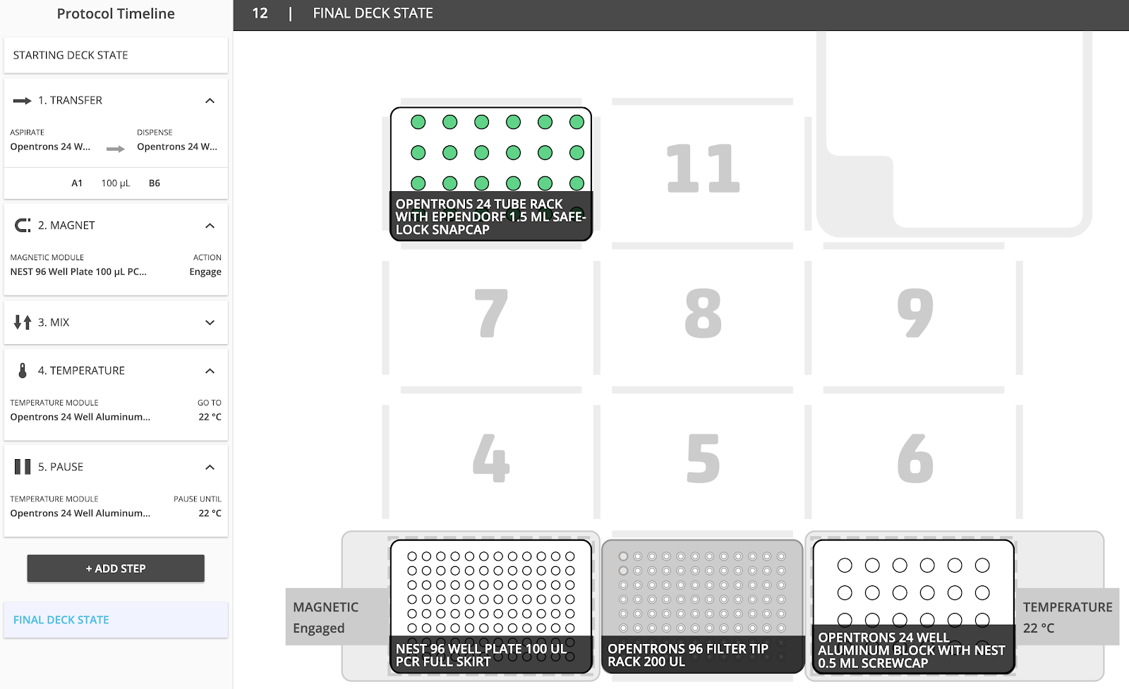Image of deck layout for sample protocol