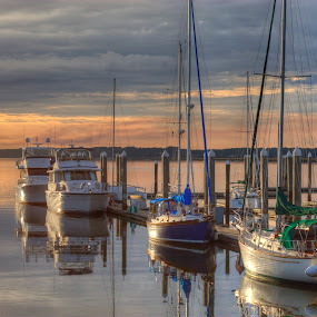 Sunset and Boats by Keith Wood - Transportation Boats ( hdr, sunset, boats, lewphoto, keith wood,  )