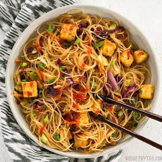 Singapore Noodles with Crispy Tofu.