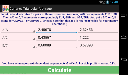 Triangular arbitrage calculator forex