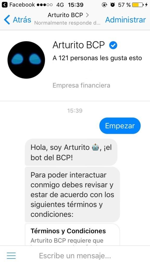 Mensaje de empresa en Facebook.