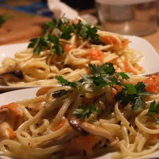 Linguine with Smoked Salmon and Exotic Mushrooms.
