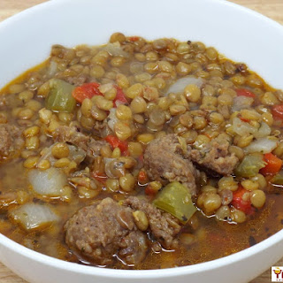Spicy Sausage And Lentil Soup.