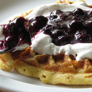 Corn Waffles with Earl Grey Cream and Blueberry Sauce