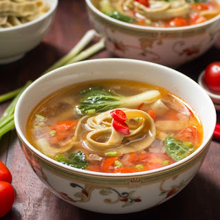 Spicy Tomato Mung Bean Noodle Soup