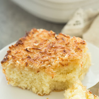 Hot Milk Cake with Broiled Coconut Frosting + VIDEO (Lazy Daisy Cake).