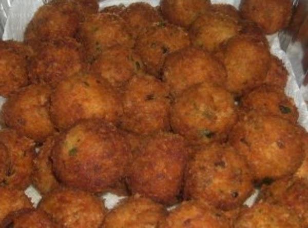 Crab Cake Balls:  deep fried crab cake balls