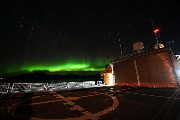 Coast Guard Cutter Polar Star (WAGB 10) is at anchor in Taylor Bay, Alaska