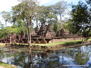 Photo: Banteay Srei, with moat in foreground.
