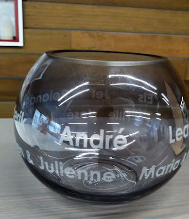 Glas - Glazen vaas graveren met namen