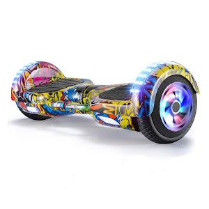 Hoverboard Auto Balance, electric, lumini LED pe roti si aripi, 6.5 inch