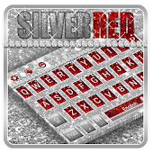 Silver Red Glitter Keyboard Theme