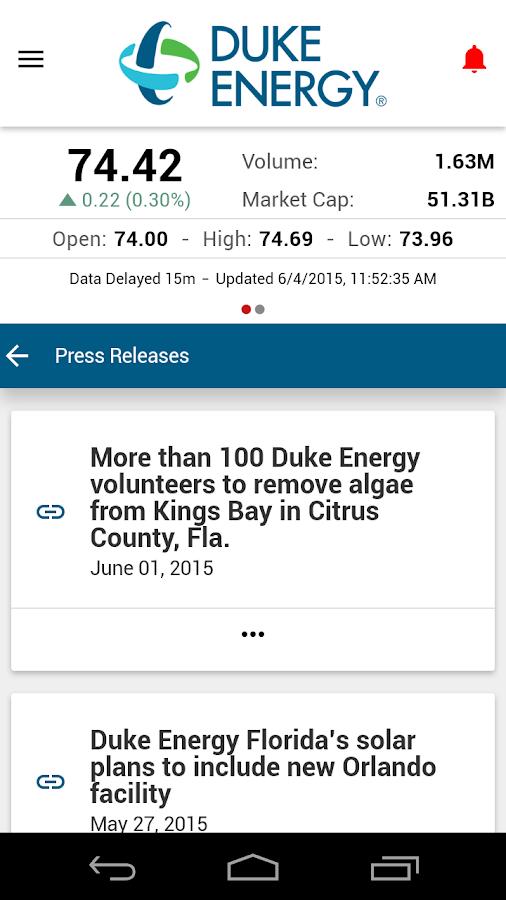 Duke Energy Investor Relations - screenshot