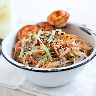 Cold Sesame Noodles with Butter Pepper Shrimp.