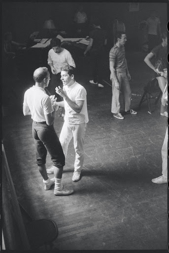 Jerome Robbins and Peter Gennaro in rehearsal for the stage production West Side Story