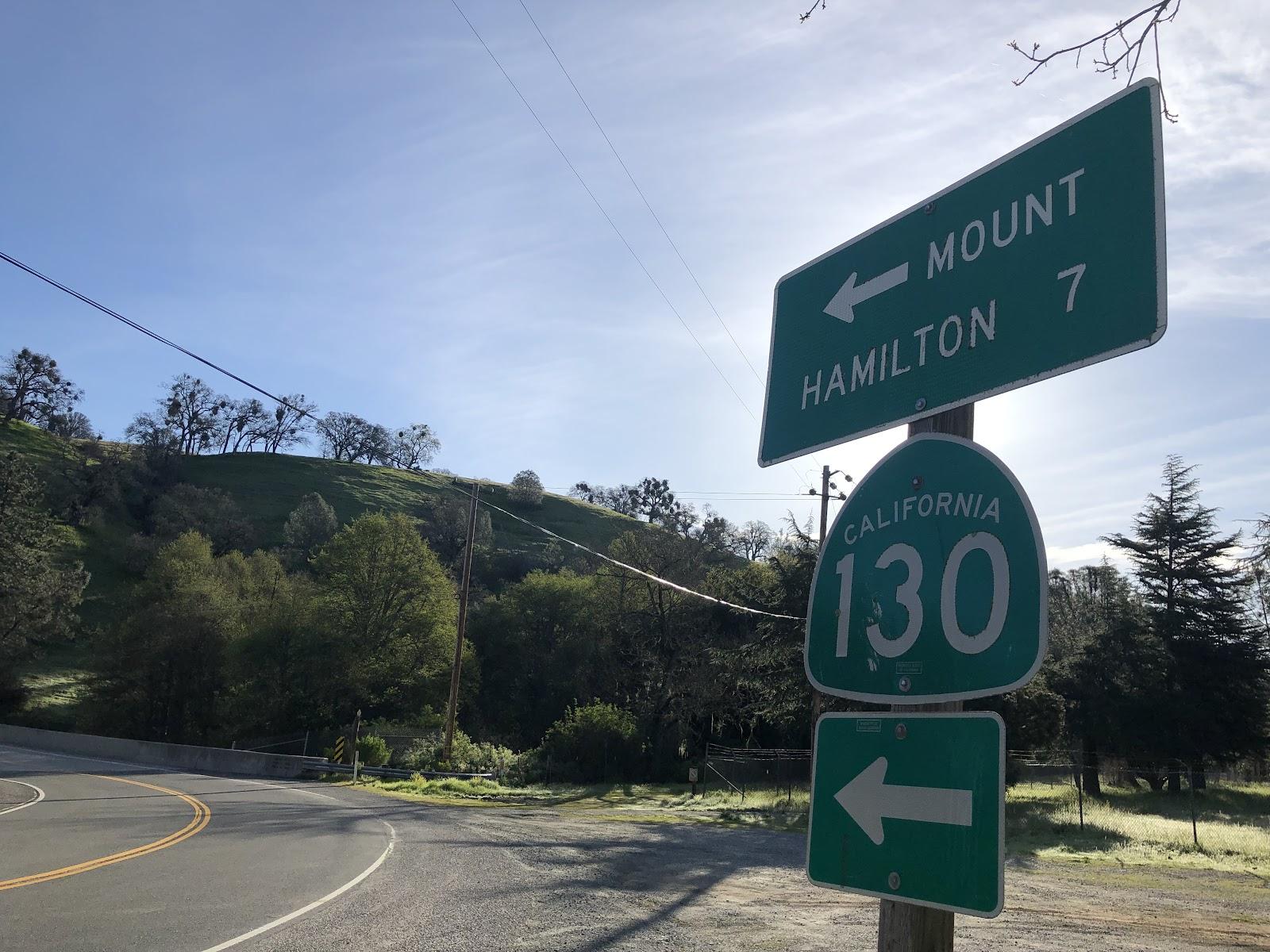 Bike climb Mt. Hamilton  West - start of second climb - Hwy 130 road sign