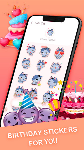 Birthday Stickers For WhatsApp-Love & Emoji screenshot 5