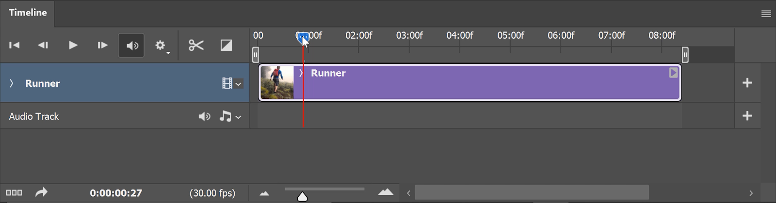 Click-and-drag the video layer towards the 00 starting point.