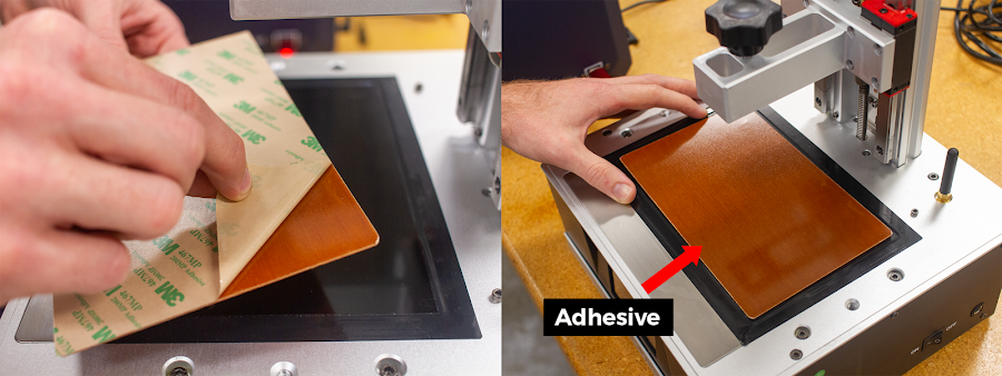 Make sure the adhesive side is facing UP. The adhesive is incredibly sticky and strong so it's important that you do not accidentally stick the adhesive side onto your LCD screen.