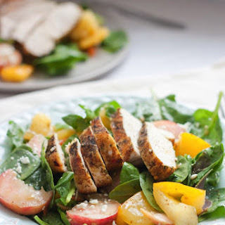 Grilled Chicken Spinach Salad with Donut Peaches