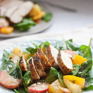 Grilled Chicken Spinach Salad with Donut Peaches.