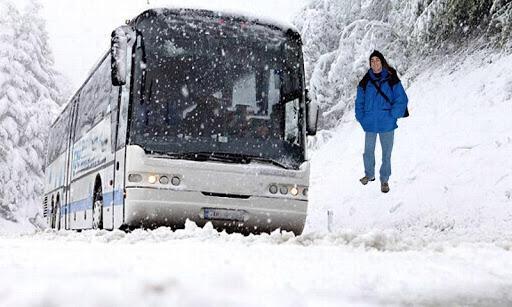 冬季 游客 总线 运输车