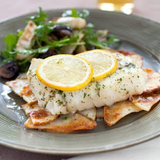 Baked Cod with Braised Potatoes.