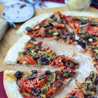 Vegan Puttanesca Pizza.