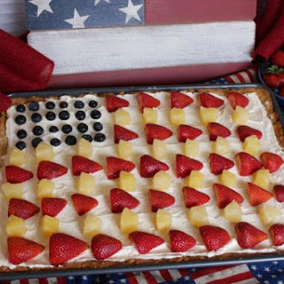 Patriotic Fruit Pizza with Pecan Shortbread Crust
