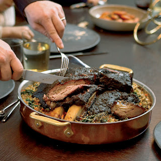 Slow-Braised Short Ribs with Spinach.