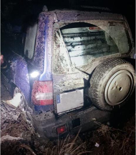 Así quedó el vehículo de la persona rescatada en Taberno.