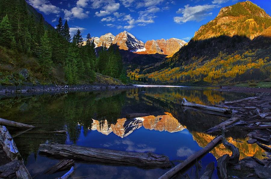 Morning Reflection by Al Juniarsam  - Landscapes Mountains & Hills ( colorado, lake, maroon bells, aspen )