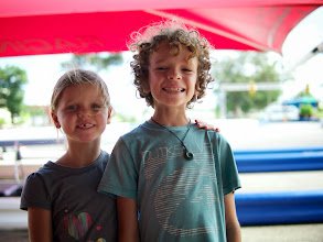 Photo: A few days later, Chloe and Tobias getting ready for a round of Go Karts!