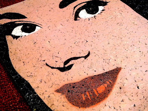 """Photo: Arianna - """"Love in the Afternoon (Ariane)""""  30x30cm  Soggetto realizzato con stencil fatto a mano, colori acrilici spray, strass di resina su sughero.  Subject made with handmade stencil with spray acrylic colours, resin strass on cork.  NON DISPONIBILE"""