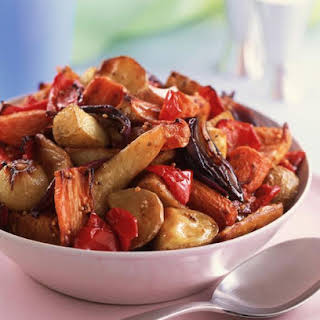 Root Vegetable Salad with Roasted Garlic Dressing.