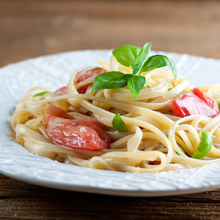 Pasta with Brie and Tomatoes.