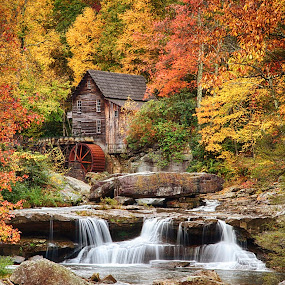 Glade Grist Mill, WVa by Lawayne Kimbro - Buildings & Architecture Public & Historical ( stream, glade grist, autumn, west virginia, colors, waterfall, fall, state park, babcock, historical,  )