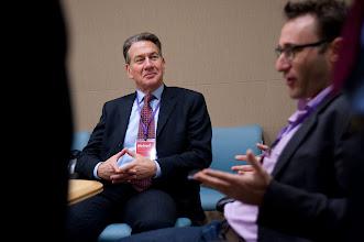 Photo: Michael Portillo listens to Simon Sinek during the RAND Politics Aside event.