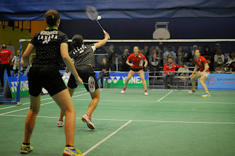 Photo: Rachel Honderich /  Michelle Li def. Anne-Julie Beaulieu / Stephanie Pakenham  21-7 21-7